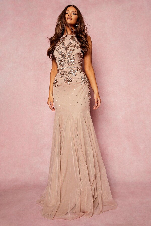 Thumbnail for your product : boohoo Bridesmaid Hand Embellished Halter Maxi Dress