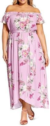 City Chic Plus Off-the-Shoulder Floral-Print Maxi Dress