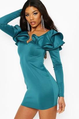 boohoo Recycled Voluminous Long Sleeve Ruffle Mini Dress