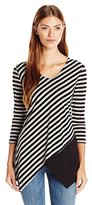 NY Collection Women's Printed 3/4 Sleeve Vneck Stripe Top with Solid Panel