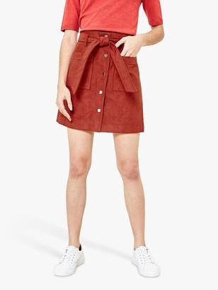 Oasis Faux Suede Utility Skirt, Dark Brown