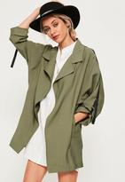 Missguided Tape Detail Waterfall Parka Coat