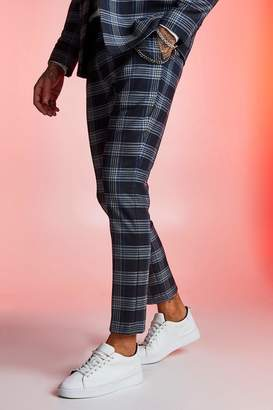 boohoo Prince Wales Check Skinny Fit Suit Trouser