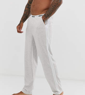 Asos Design DESIGN lounge pyjama bottom in grey marl with side stripe and branded waistband