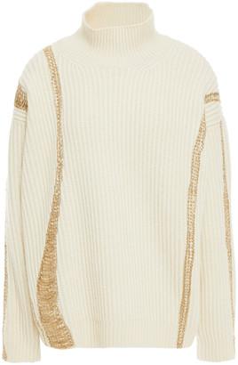 Oscar de la Renta Metallic Embroidered Ribbed Merino Wool And Cashmere-blend Turtleneck Sweater