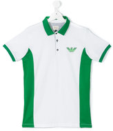 Armani Junior logo print polo shirt