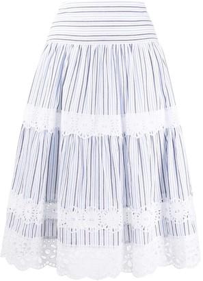 MICHAEL Michael Kors Lace-Trim Striped Skirt