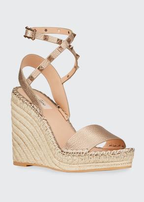 Valentino 125mm Metallic Rockstud Espadrille Sandals