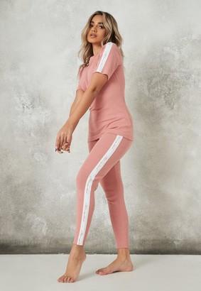 Missguided Pink Tape Rib Loungewear Leggings