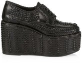 Prada Woven Leather Platform-Wedge Derby Loafers