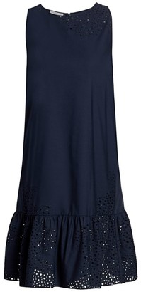 Akris Punto Sleeveless Ruffle Drop-Hem Eyelet Dress