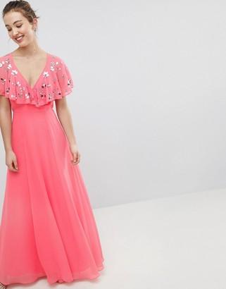 Asos Design DESIGN Wrap Maxi Dress With Embellished Flutter Sleeves-Pink
