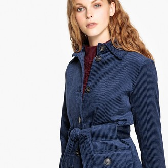 La Redoute Collections Belted Corduroy Coat