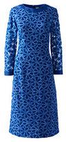 Classic Women's Petite 3/4 Sleeve Eyelet Shift Dress-Sea Cliff Blue Lace
