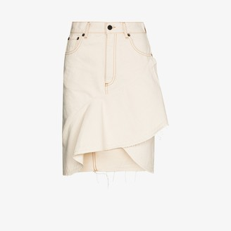 Off-White X Browns 50 ruffled denim skirt