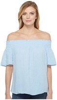 Michael Stars Double Gauze Smocked Off Shoulder Women's Clothing