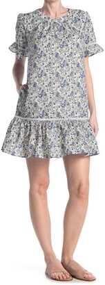 MelloDay Floral Ruffle Trim Shift Dress