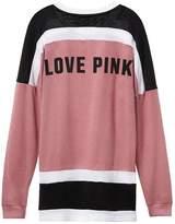 VS Pink Victoria's Secret PINK Varsity Crew Pullover Coloblock Sweatshirt Begonia