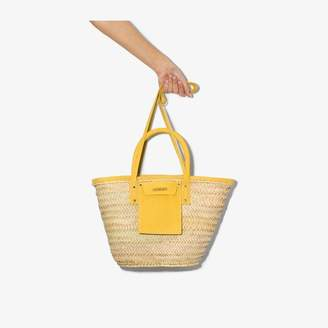 Jacquemus beige and yellow Le Panier Soleil raffia tote bag
