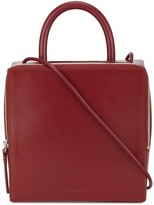Building Block Wine Red box Leather Shoulder bag