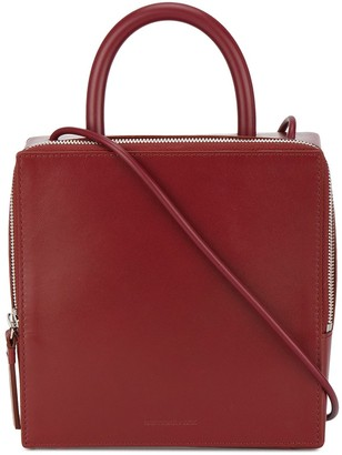Building Block Wine Red box Leather Shoulder bag