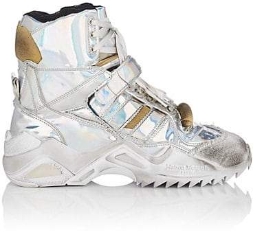 Maison Margiela Women's Chunky Iridescent Leather Sneakers - Silver