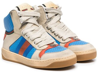 Gucci Children High-Top Leather Sneakers