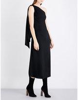 Osman Ladies Black Asymmetric Elegant Satin Midi Dress