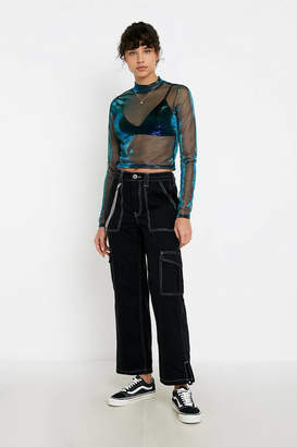 Urban Outfitters Shimmer Mesh Mock Neck