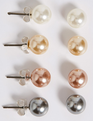 Marks and Spencer 4 Pack Pearl Effect Earrings Set