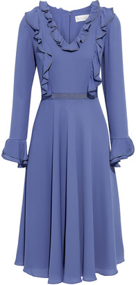 Mikael Aghal Flared Grosgrain-trimmed Ruffled Crepe De Chine Dress