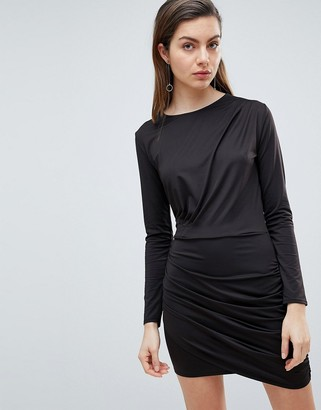 Ivyrevel Long Sleeved Jersey Dress with Ruched Detail-Black