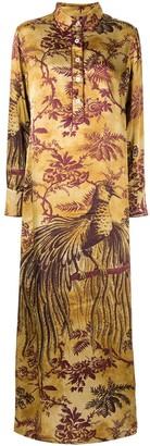 F.R.S For Restless Sleepers long botanical print shirt dress