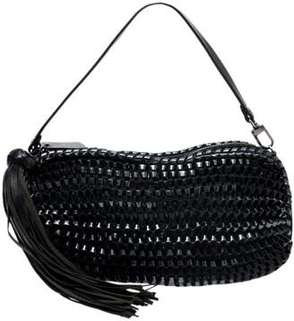 Diane von Furstenberg Metallic Black Chainlink Leather Stephanie Shoulder Bag