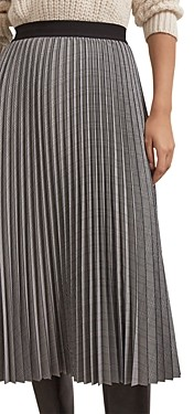 Gerard Darel Myrtille Knife Pleat Plaid Midi Skirt