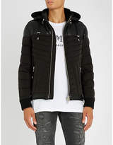 Balmain Leather-trimmed shell-down jacket