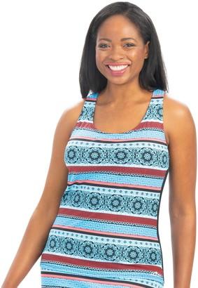 Women's Dolfin Aquashape Racerback Stripe Print Tankini Swim Top