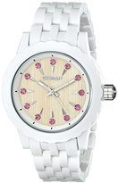 Sprout Women's ST/6803PKWT Pink Swarovski Crystal Accented Bamboo Dial White Corn Resin Bracelet Watch