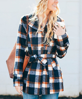 Navy Plaid Belted Coat