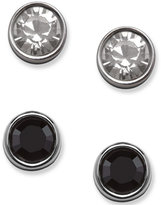 Swarovski Earring Set, Clear and Black Crystal Studs