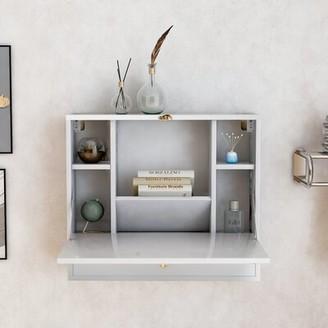 Latitude Run Chrystie Floating Desk Color: White