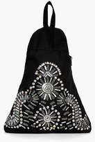 boohoo Macie Stud Embellished Triangular Rucksack