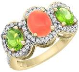PIERA 10K Yellow Gold Natural Coral & Peridot 3-Stone Ring Oval Diamond Accent, size 10