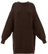 Raey Oversized Crew-neck Ribbed-wool Sweater - Womens - Dark Brown