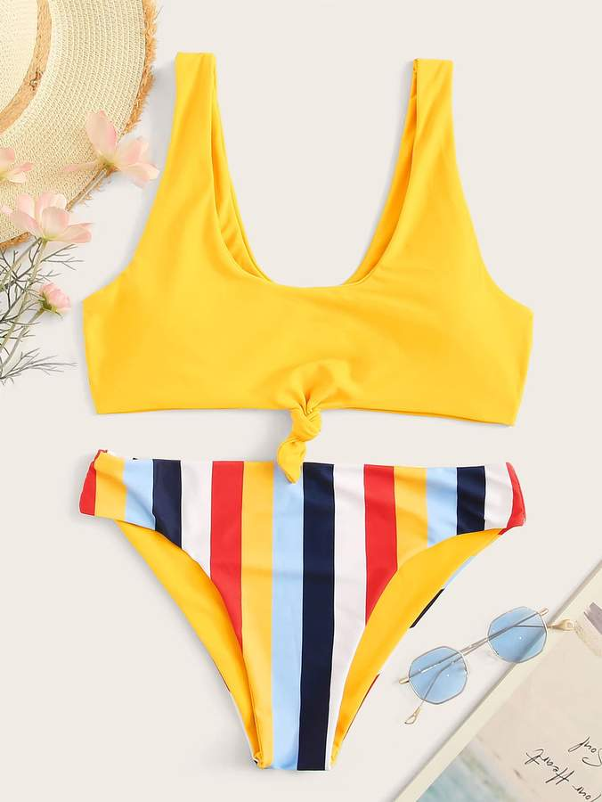 57e767afec Knot Front Swimsuit Yellow - ShopStyle