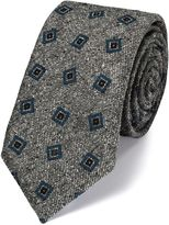 Charles Tyrwhitt Grey and Blue Silk Mix Printed Donegal Luxury Tie