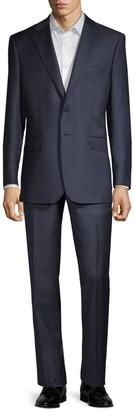 Saks Fifth Avenue Tailored-Fit Windowpane Plaid Wool Suit