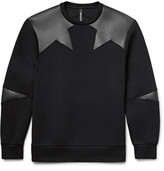Neil Barrett Faux Leather-Panelled Bonded Jersey Sweatshirt
