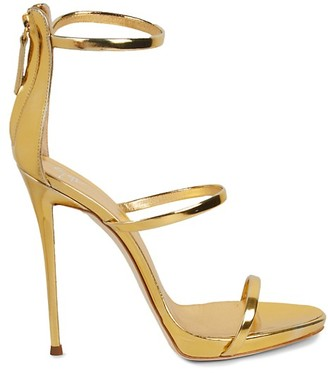 Giuseppe Zanotti Metallic Patent Leather Ankle-Strap Sandals