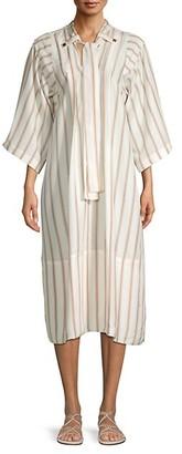 Chloé Striped Silk Midi Shift Dress